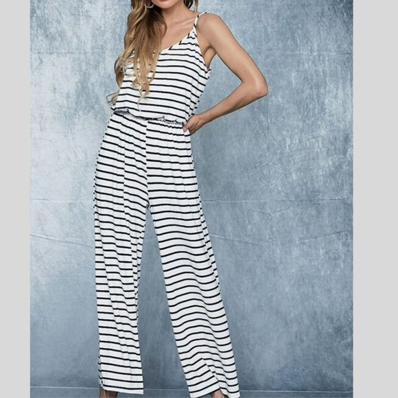 BiBi Pants - Stripe Knit Sleeveless Jumpsuit